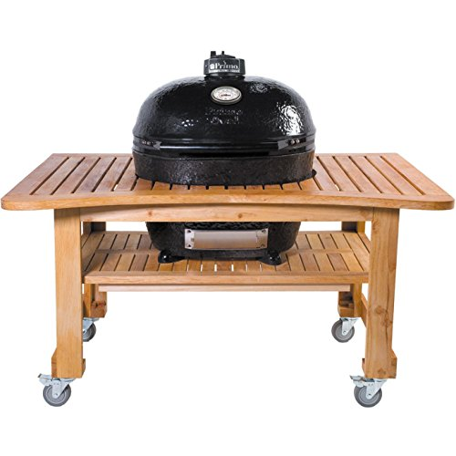 Primo-Ceramic-Charcoal-Smoker-Grill-On-Teak-Table-Oval-Xl