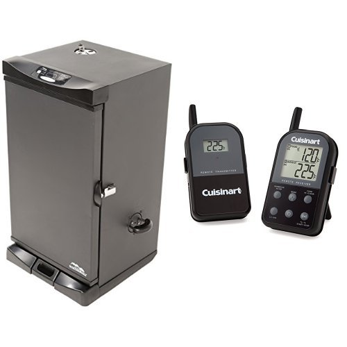 Masterbuilt-20078715-Electric-Digital-Smoker-Front-Controller-30-Inch-Black-with-Cuisinart-Thermometer