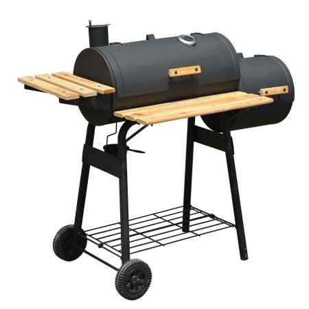 Outsunny-Backyard-Charcoal-BBQ-Grill-Offset-Smoker-Combo-With-Wheels