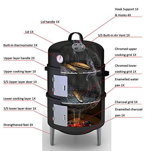 17 Black Steel Multi Functional Bbq Charcoal Grill Smoker