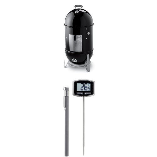 Weber-721001-Smokey-Mountain-Cooker-18-Inch-Charcoal-Smoker-Black-and-Thermometer-Bundle