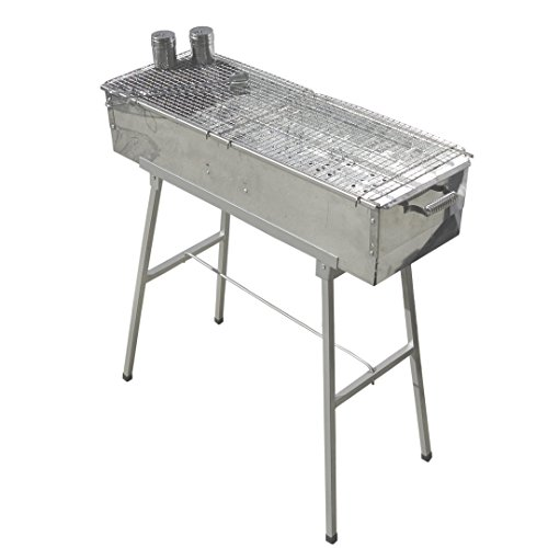 Party-Griller-32-x-11-Stainless-Steel-Charcoal-Barbecue-Grill-w-2x-Stainless-Steel-Mesh-Grate-Portable-BBQ-Kebab-Satay-Yakitori-Grill-Makes-Juicy-Shish-Kebob-Shashlik-Spiedini-on-the-Skewer