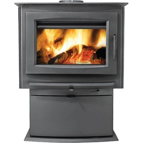 Napoleon-S4-S-Series-Medium-Wood-Burning-Stove-Up-to-70-000-BTUs-Complete-with-Cast-Pedestal-Base-Cast-Iron-Door-and-Slide-Out-Ash-Drawer-EPA