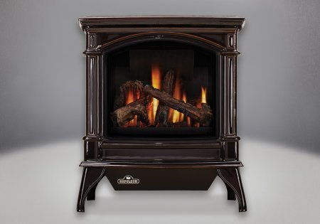 Napoleon-GVFS60-1PN-Cast-Iron-Stove-Body-Vent-Free-Gas-Stove-Porcelain-Majolica-Brown-Finish-Liquid