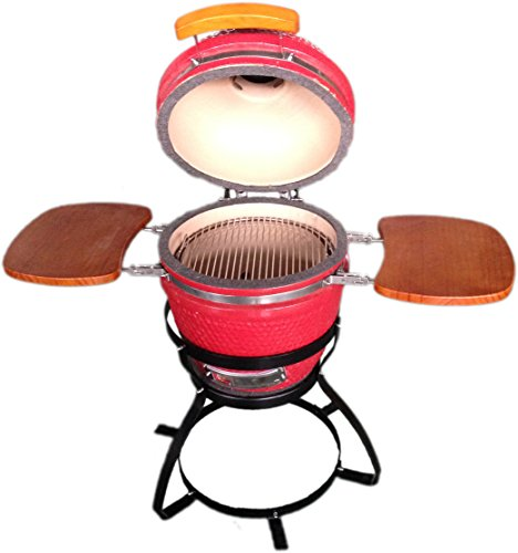 BEACON-Ceramic-Grill-Red-with-Side-Trays-Metal-Stand