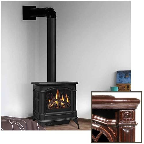 Direct-Vent-Cast-Iron-Stove-Stove-Finish-Porcelain-Majolica-Brown