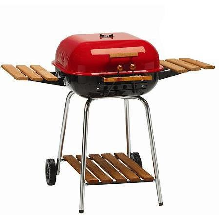 Meco-Charcoal-Grill-With-Wood-Side-Trays-Red-4105