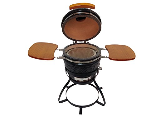 BEACON-Ceramic-Grill-Black-with-Side-Folding-Trays-Metal-Stand