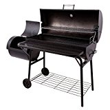 Pro-BBQ-Smoker-Grill-Fire-Box-With-Extra-Large-Cooking-Surface-670-Square-In-Main-Grill-Grate-Porcelain-Coated-Racks-Portable-Wheeled-Cart-Storage-Organization-Rack-Adjustable-Smokestack-Temp-Gauge