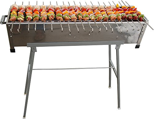 32-Stainless-Steel-Shish-Kebab-Grill-wStand-20-Stainless-Skewers
